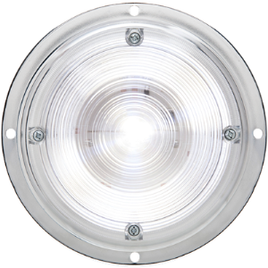 "Dome Light, Clear, Round 6"", Chrome Base, Surface Mount"