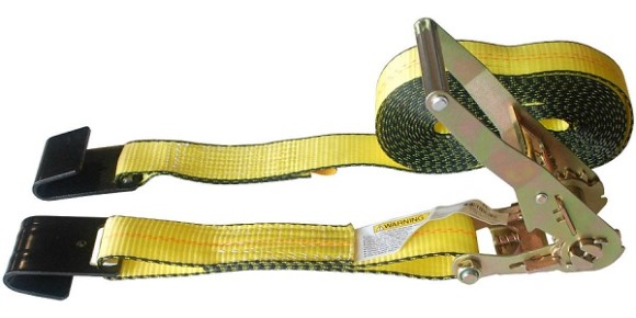"Ratchet Strap, 2"" X 27', Flat Hook, 3333 WLL"