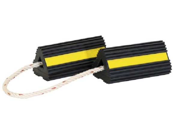 "Wheel Chock Set, Rubber, Rope, 4""X4""X8"", Yellow & Black"